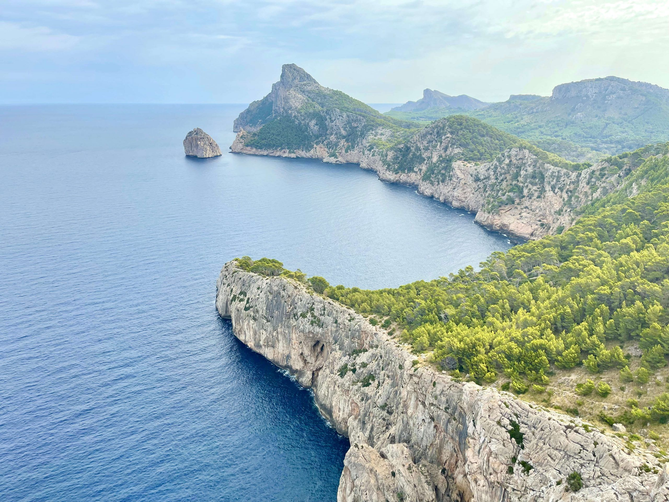Overlook of cliffs and coves in Mallorca